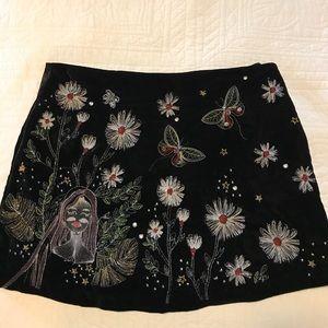 Zara Floral Velvet Mini Skirt Size Xs